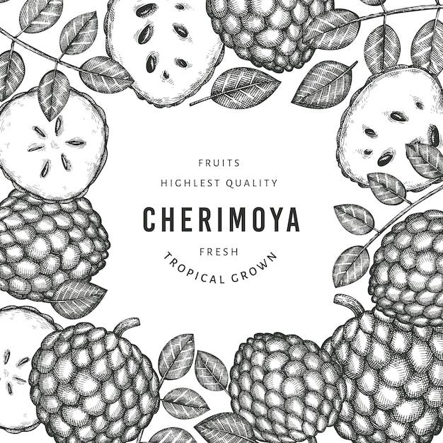 Ручной обращается эскиз стиля черимойя. иллюстрация органических свежих фруктов. гравированный ботанический шаблон стиля. Premium векторы