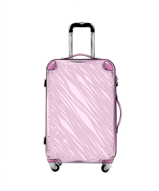 Hand drawn sketch of suitcase in pink color isolated. detailed vintage style drawing. vector illustration Premium Vector