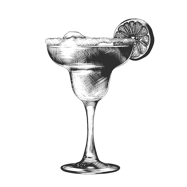 Hand drawn sketch of summer cocktail Premium Vector