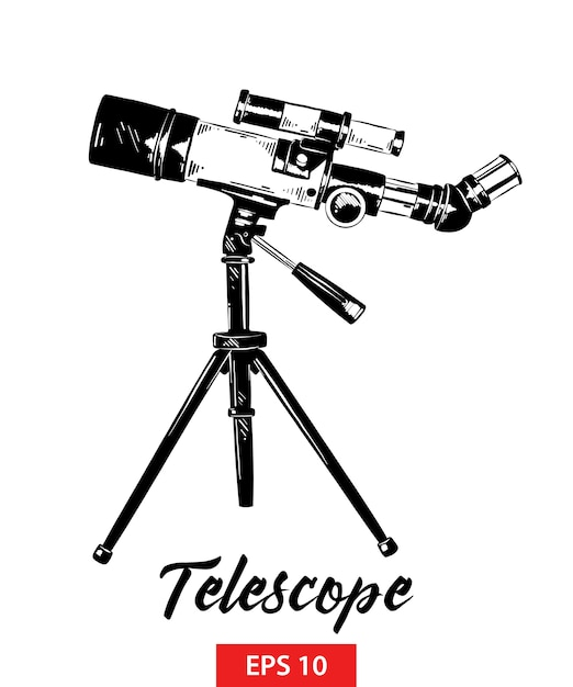 Hand drawn sketch of telescope in black Premium Vector