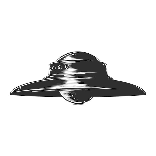 Hand drawn sketch of ufo in monochrome Premium Vector