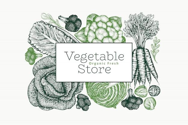 Ручной обращается эскиз овощи дизайн. Premium векторы