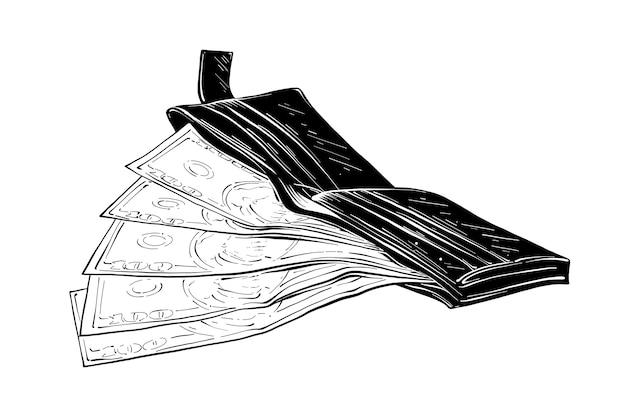 Hand drawn sketch of wallet with money in black Premium Vector