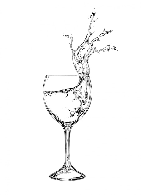 Hand drawn sketch wineglass with spray of liquid in black color. isolated Premium Vector