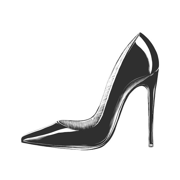 Hand drawn sketch of women's high heel shoe   Premium Vector