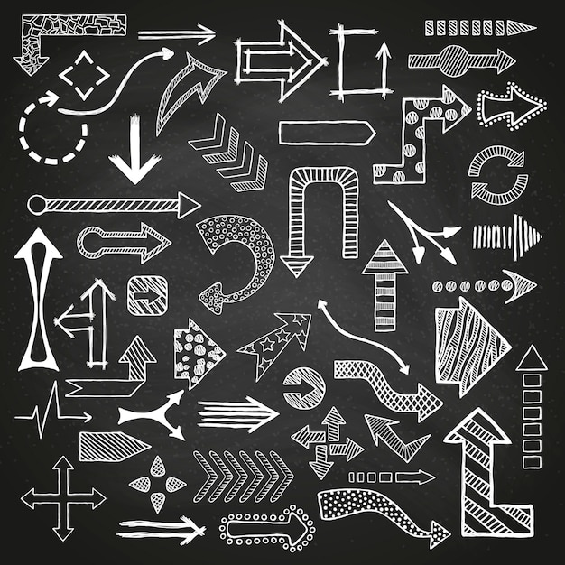 Hand drawn sketched arrows set in different shapes. Premium Vector