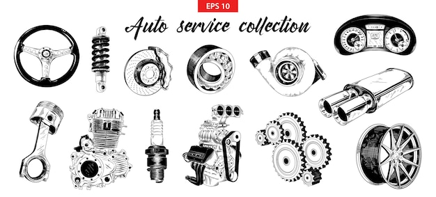 Hand drawn sketches of auto car service elements Premium Vector