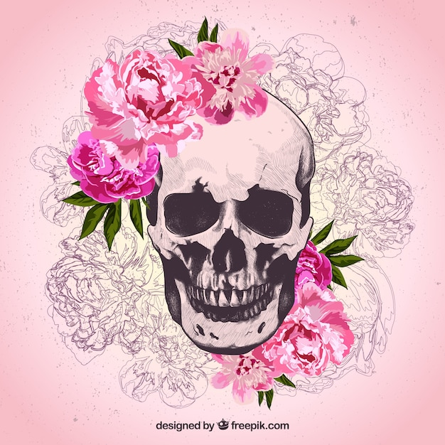 Hand drawn skull and flowers vector free download hand drawn skull and flowers free vector mightylinksfo