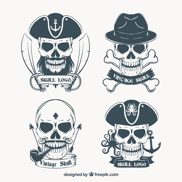Hand drawn skull logos Free Vector