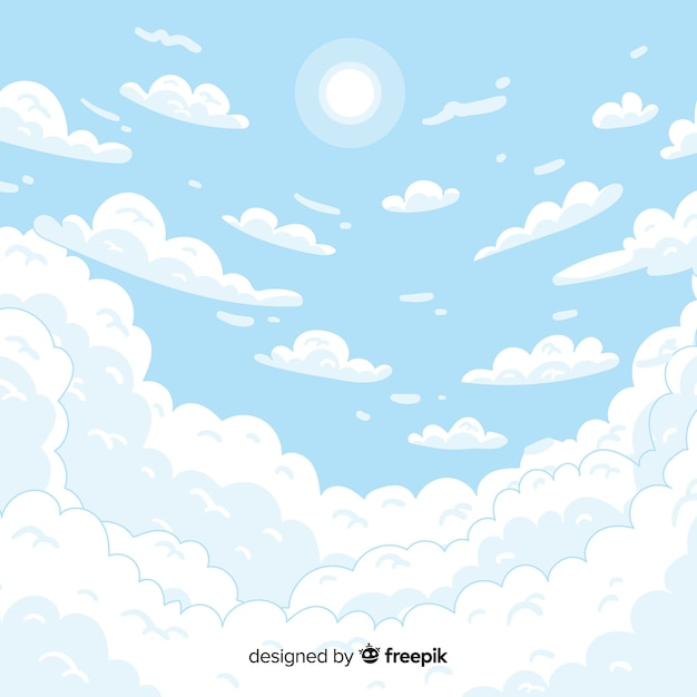 Hand drawn sky background Free Vector