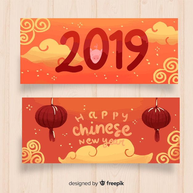 Hand drawn sky chinese new year banner Free Vector
