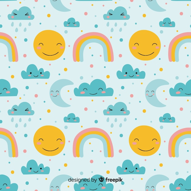 Hand drawn sky doodle pattern Free Vector