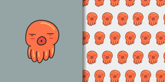 Hand drawn sleep octopus with seamless pattern Premium Vector