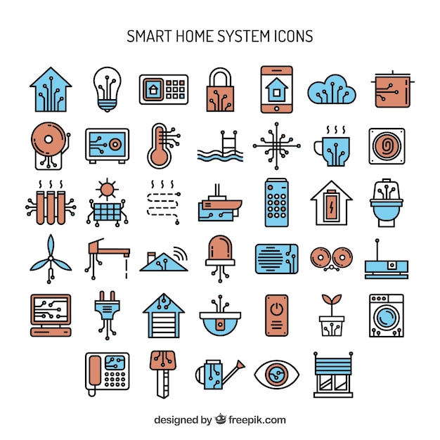 hand drawn smart home system icons vector premium download. Black Bedroom Furniture Sets. Home Design Ideas