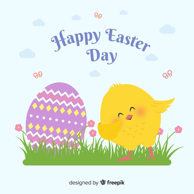 Hand drawn smiling chicken easter day background Free Vector