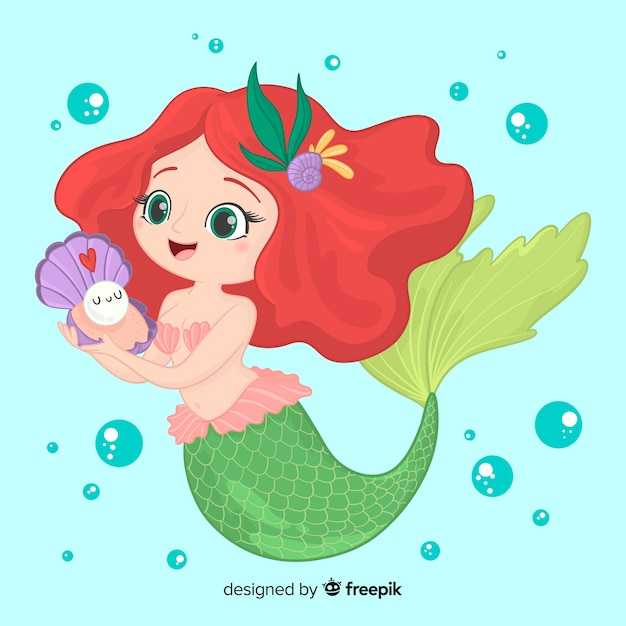 Hand drawn smiling mermaid character Free Vector