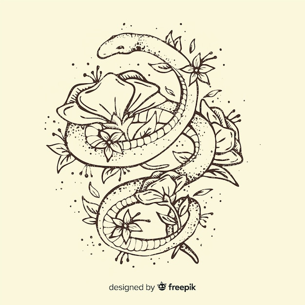 Hand drawn snake surrounded by flowers Free Vector