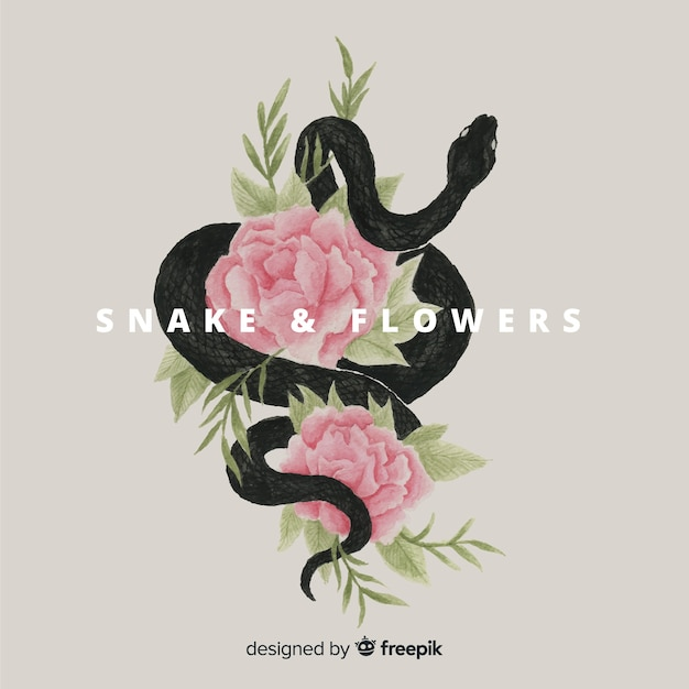 Hand drawn snake with flowers background Free Vector