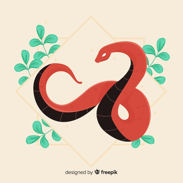 Hand drawn snake with leaves Free Vector