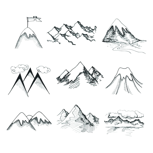 Hand drawn snow ice mountain tops decorative icons isolated vector illustration Free Vector