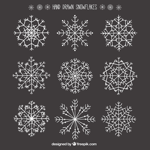 Hand drawn snowflake collection vector premium download