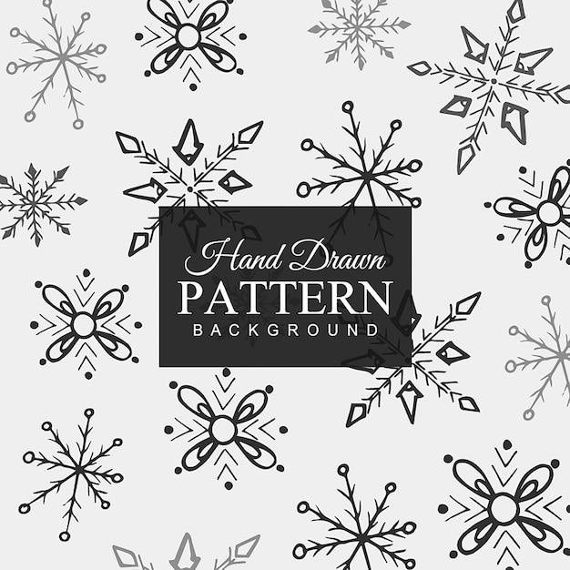 Hand drawn Snowflakes Pattern Free Vector