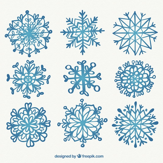 Hand drawn snowflakes with different shapes for christmas