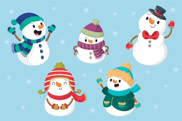 Hand drawn snowman character collection Premium Vector