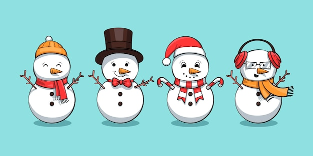 Hand drawn snowman character collection Free Vector