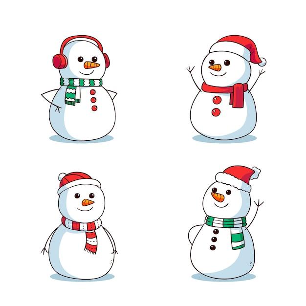 Hand Drawn Snowman Character Set Free Vector