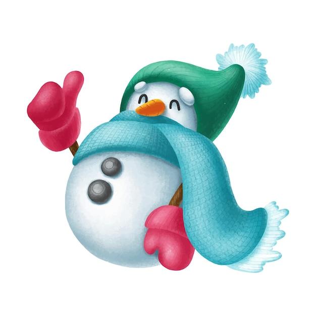 手描きの雪だるまのキャラクターの親指 Premiumベクター