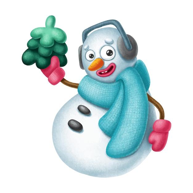 クリスマスの木と手描きの雪だるまのキャラクター Premiumベクター