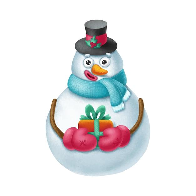 ギフトと手描きの雪だるまのキャラクター Premiumベクター