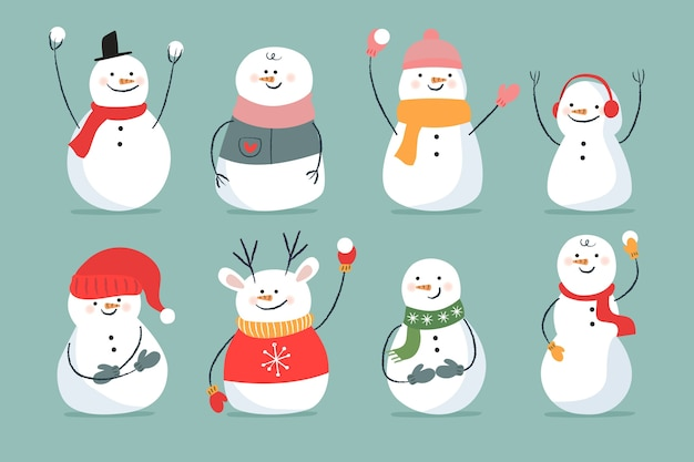 Hand drawn snowman collection character Free Vector