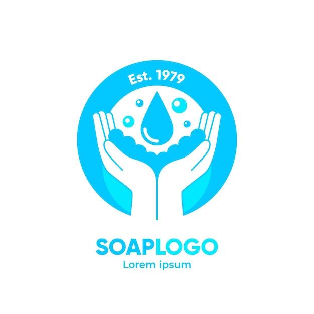 手描き石鹸のロゴのテンプレート 無料ベクター