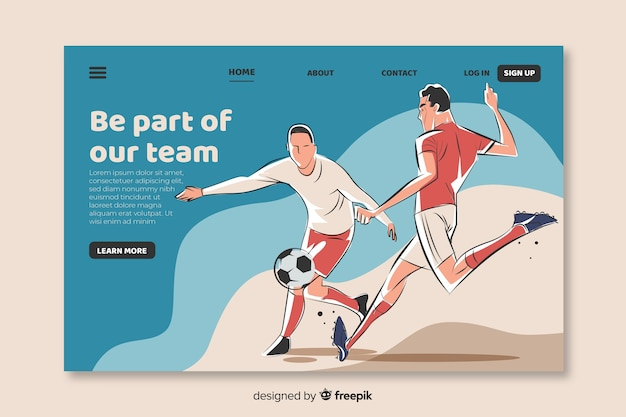 Hand drawn soccer landing page template Free Vector