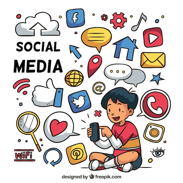 Hand drawn social media background Free Vector