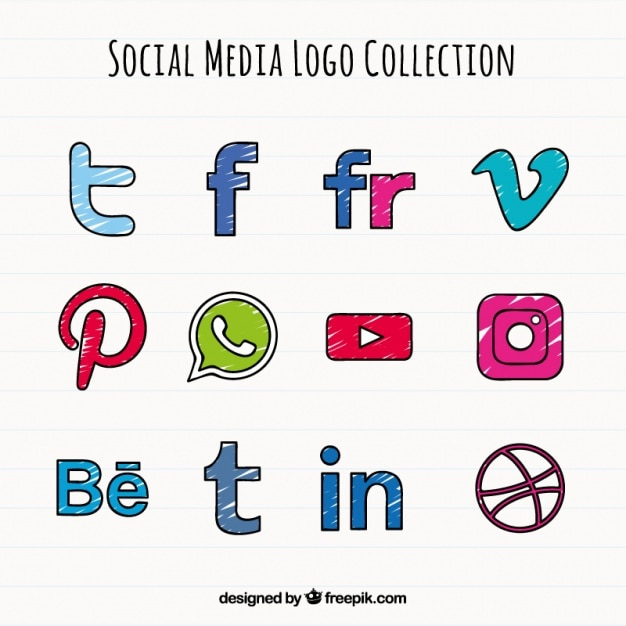 Hand drawn social media colored icons Vector | Free Download