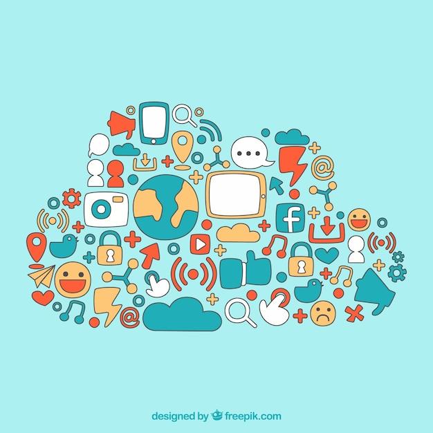 Elementi di social media disegnati a mano a forma di nuvola Vettore gratuito