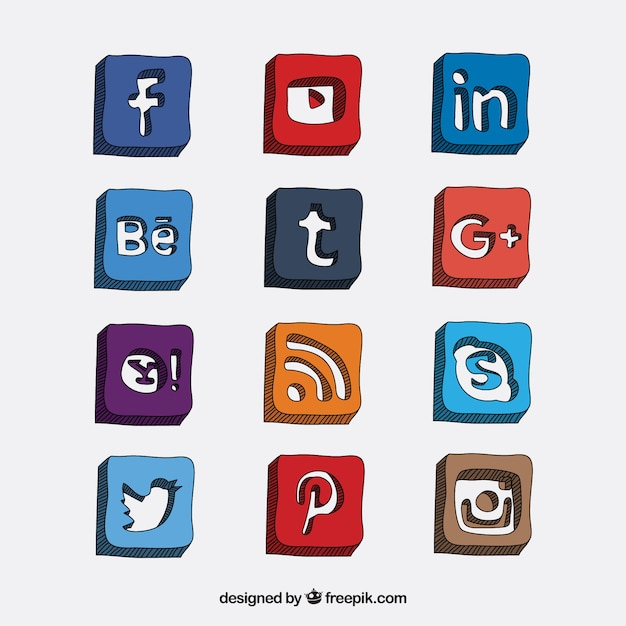 56681d1290f9 Hand drawn social media icons in 3d style Vector | Premium Download
