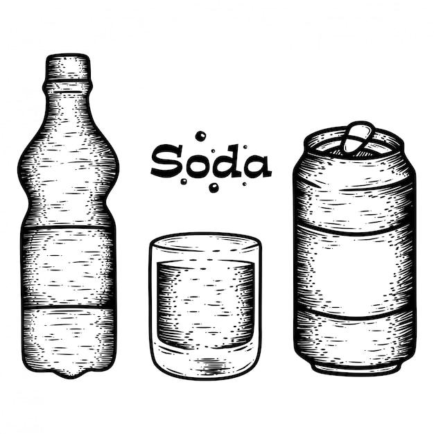 Hand drawn soda set Premium Vector
