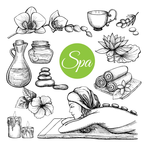 Hand drawn spa treatment set Free Vector