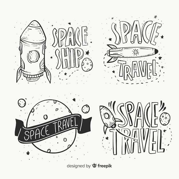 Hand drawn space badge collection Free Vector
