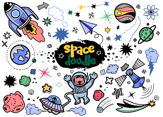 Hand drawn space elements Premium Vector