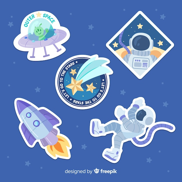 Hand drawn space sticker set Free Vector