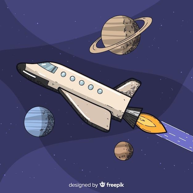 Hand drawn spaceship background Free Vector