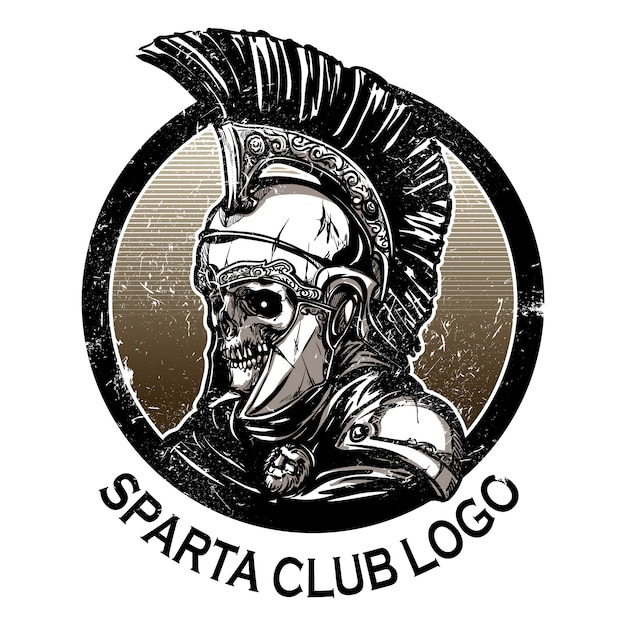 Hand Drawn Spartan Warrior Skull Wearing Ancient Helmet Vector