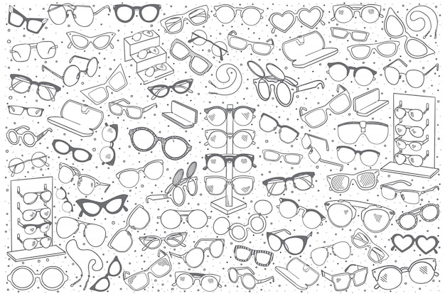 Hand drawn spectacles shop set Premium Vector
