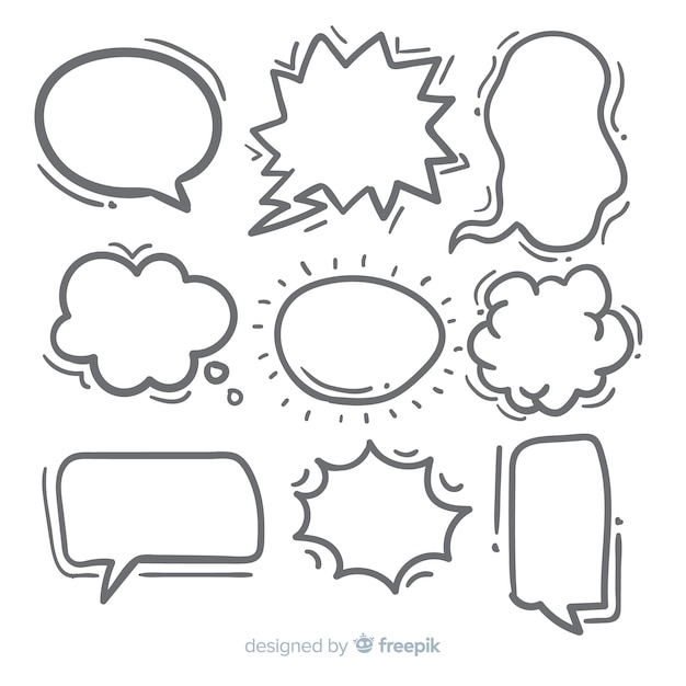 Hand-drawn speech bubble collection Free Vector