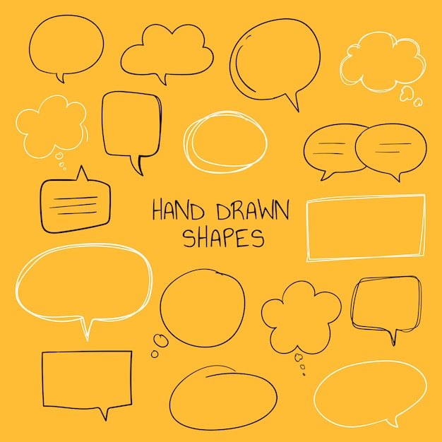 Hand drawn speech bubble collection Free Vector